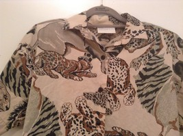 Safari Team Print Animals Brown Gray Short Sleeve Shirt Ms Paquette Size Small image 3