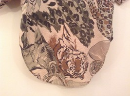 Safari Team Print Animals Brown Gray Short Sleeve Shirt Ms Paquette Size Small image 6
