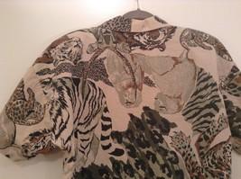 Safari Team Print Animals Brown Gray Short Sleeve Shirt Ms Paquette Size Small image 5