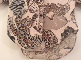 Safari Team Print Animals Brown Gray Short Sleeve Shirt Ms Paquette Size Small image 4