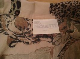 Safari Team Print Animals Brown Gray Short Sleeve Shirt Ms Paquette Size Small image 7