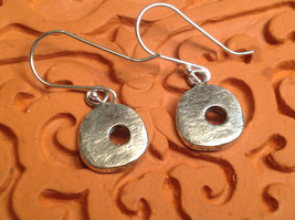 Rustic Textured Circle Donut Sterling Silver Shiny Drop Earrings image 2
