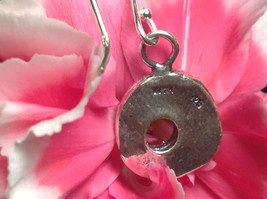Rustic Textured Circle Donut Sterling Silver Shiny Drop Earrings image 4