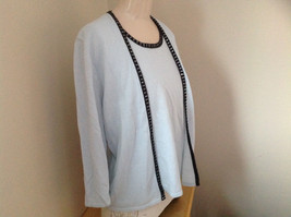 Sag Harbor Baby Blue Black Beaded Trimmed Sweater with Attached Shirt Size XL image 2