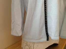 Sag Harbor Baby Blue Black Beaded Trimmed Sweater with Attached Shirt Size XL image 4