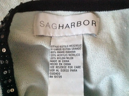 Sag Harbor Baby Blue Black Beaded Trimmed Sweater with Attached Shirt Size XL image 7