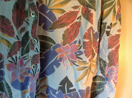 Sag Harbor Hawaiian Motif Button Up Collared Shirt w Adjustable Sleeves No Tag image 2