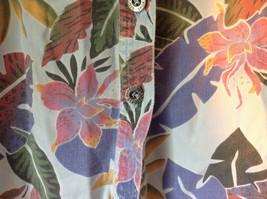 Sag Harbor Hawaiian Motif Button Up Collared Shirt w Adjustable Sleeves No Tag image 3