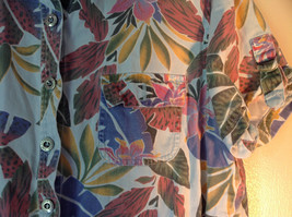 Sag Harbor Hawaiian Motif Button Up Collared Shirt w Adjustable Sleeves No Tag image 4