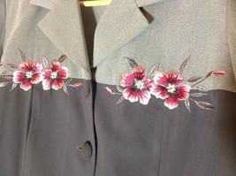 S. L. Fashions Petites Grey Two Tone Button Up Blazer Size 12 Petite image 2