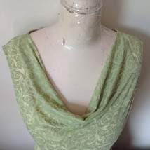 Sage Green Burn Out Design Sleeveless Top with Cowl Neck No Size Tag image 3