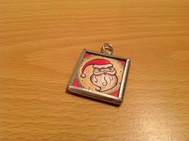 Santa and Reindeer Metal and Glass Tag Charm Present Tie On Reversible Versatile image 2