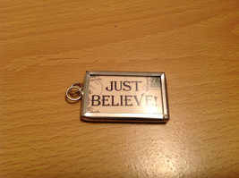 Santa Just Believe Very Versatile Metal Glass Tag Reversible Charm Gift Tie On image 2
