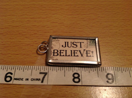 Santa Just Believe Very Versatile Metal Glass Tag Reversible Charm Gift Tie On image 3