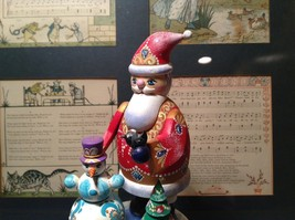 Santa Music Box Turn Top to Wind Up with Snowman Christmas Tree Russian image 2