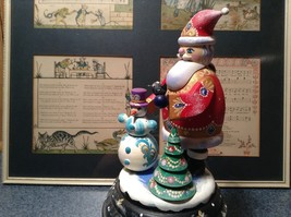 Santa Music Box Turn Top to Wind Up with Snowman Christmas Tree Russian image 7