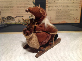 Santa with Burlap Sack on Back in Brown Wooden Sled Figurine Ornament image 5