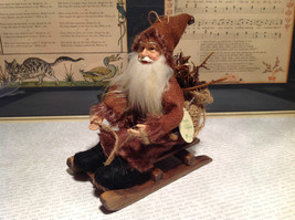 Santa with Burlap Sack on Back in Brown Wooden Sled Figurine Ornament image 2