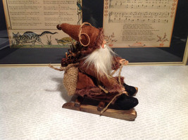 Santa with Burlap Sack on Back in Brown Wooden Sled Figurine Ornament image 3