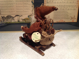 Santa with Burlap Sack on Back in Brown Wooden Sled Figurine Ornament image 7