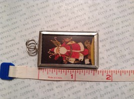 Santa with Toys Charm Present Tie On Versatile Reversible Tag Metal Glass Tag image 3
