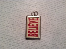 Santa and Believe Charm Present Tie On Versatile Reversible Tag Metal Glass Tag image 2