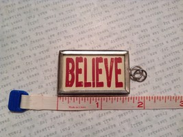 Santa and Believe Charm Present Tie On Versatile Reversible Tag Metal Glass Tag image 3