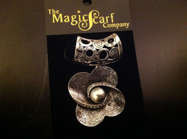 Scarf Pendant Silver Tone Flower Shaped with Silver Colored Stone 2 Inches image 2