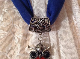 Scarf Pendant Silver Tone Owl Two Black Crystal Eyes Red Stones and Red Crystals image 6