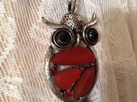 Scarf Pendant Silver Tone Owl Two Black Crystal Eyes Red Stones and Red Crystals image 8