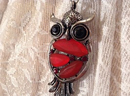 Scarf Pendant Silver Tone Owl Two Black Crystal Eyes Red Stones and Red Crystals image 7