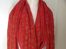 Scrunched Style Burnt  Orange Real Gold Stamped Embossed Beaded Scarf image 2