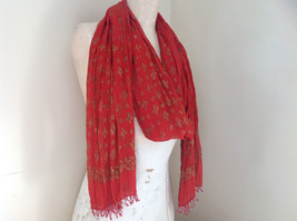 Scrunched Style Burnt  Orange Real Gold Stamped Embossed Beaded Scarf image 5