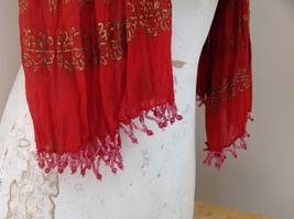 Scrunched Style Burnt  Orange Real Gold Stamped Embossed Beaded Scarf image 6