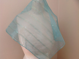 Sea Green with Gold Stripe Line Pattern Square Scarf Light and Sheer Material image 4