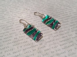 Sea Green and Gray Glossy Finish Pewter and Enamel Handcrafted Earrings image 2