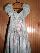 Seafoam Green Purple Floral Pattern Full Length Dress Ruffled Bottom Size 11-12 image 4