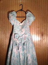Seafoam Green Purple Floral Pattern Full Length Dress Ruffled Bottom Size 11-12 image 2