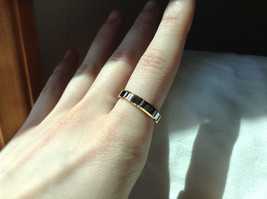 Segmented Design Silver and Gold Plated Ring Size 7,8 image 2