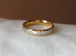 Segmented Design Silver and Gold Plated Ring Size 7,8 image 5