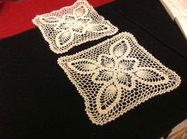 Set of 2 Doilies cream colored 10 inches W 10 inches long hand made image 2