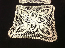 Set of 2 Doilies cream colored 10 inches W 10 inches long hand made image 3