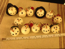 Set of 12 medium Snowman head ornaments winter Christmas with various head gear image 2