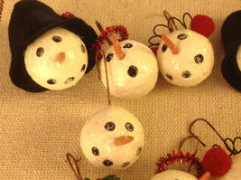 Set of 12 medium Snowman head ornaments winter Christmas with various head gear image 5