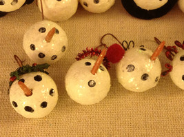 Set of 12 medium Snowman head ornaments winter Christmas with various head gear image 4