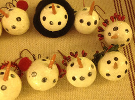 Set of 12 medium Snowman head ornaments winter Christmas with various head gear image 3
