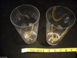 Set of 2 Pint Glass and 4 small punch glasses delicate copper wheel image 5