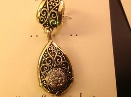 Scarf pendant gold tone enamel embossed relief and crystal studded tear drop image 4