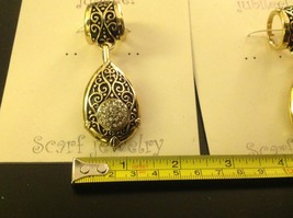 Scarf pendant gold tone enamel embossed relief and crystal studded tear drop image 2