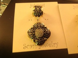 Scarf pendant gold tone enamel embossed relief and crystal studded oval image 2